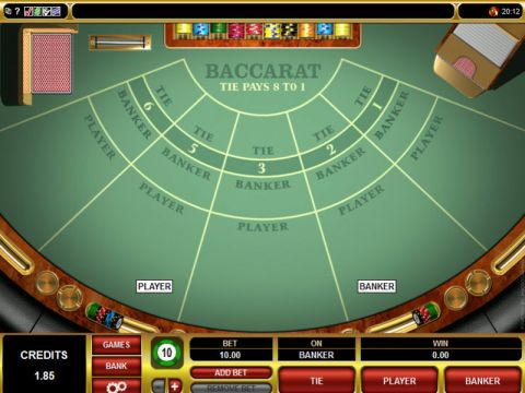 Baccarat made by Microgaming with 1 Deck
