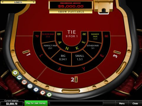 Progressive Baccarat made by PlayTech with 6 Decks